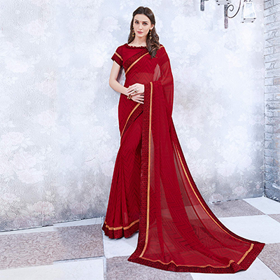 Maroon Colored Casual Wear Printed Georgette Saree