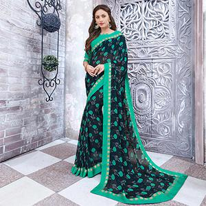 Navy Blue Colored Casual Wear Printed Georgette Saree