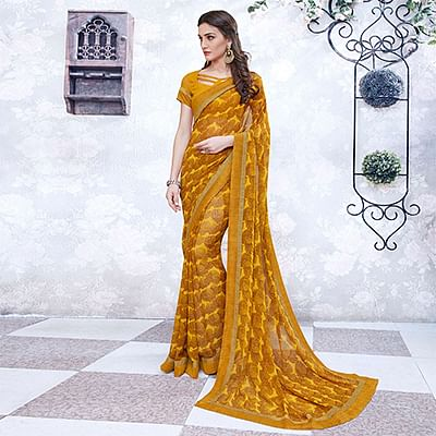 Musturd Yellow Colored Casual Wear Printed Georgette Saree