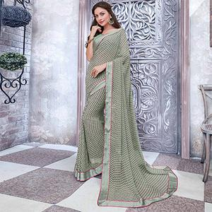 Pastel Green Colored Casual Wear Printed Georgette Saree