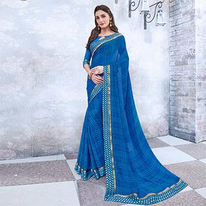 Blue Colored Casual Wear Printed Georgette Saree