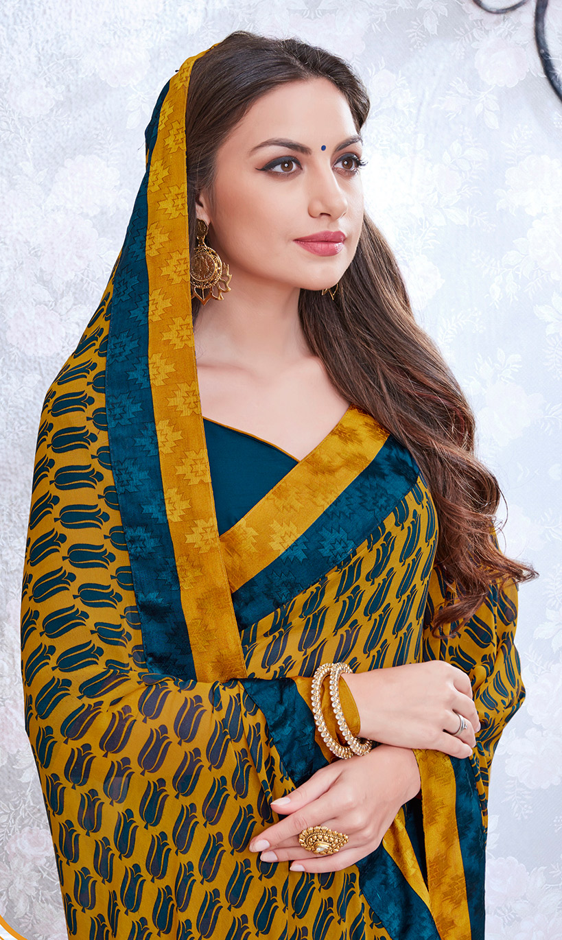 Yellow & Blue Colored Casual Wear Printed Georgette Saree