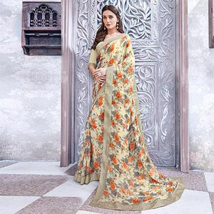 Off-White Colored Casual Wear Printed Georgette Saree