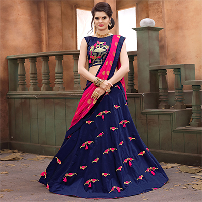 Unique Navy Blue Colored Festive Wear Embroidered Soft Silk Lehenga Choli