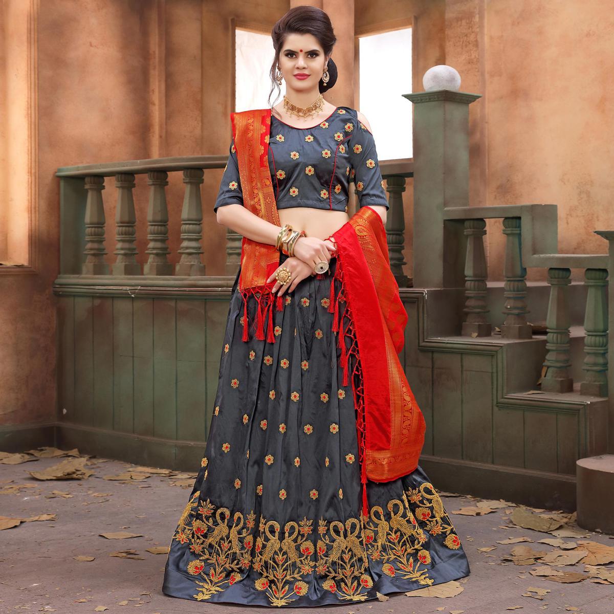 Alluring Grey Colored Festive Wear Embroidered Soft Silk Lehenga Choli