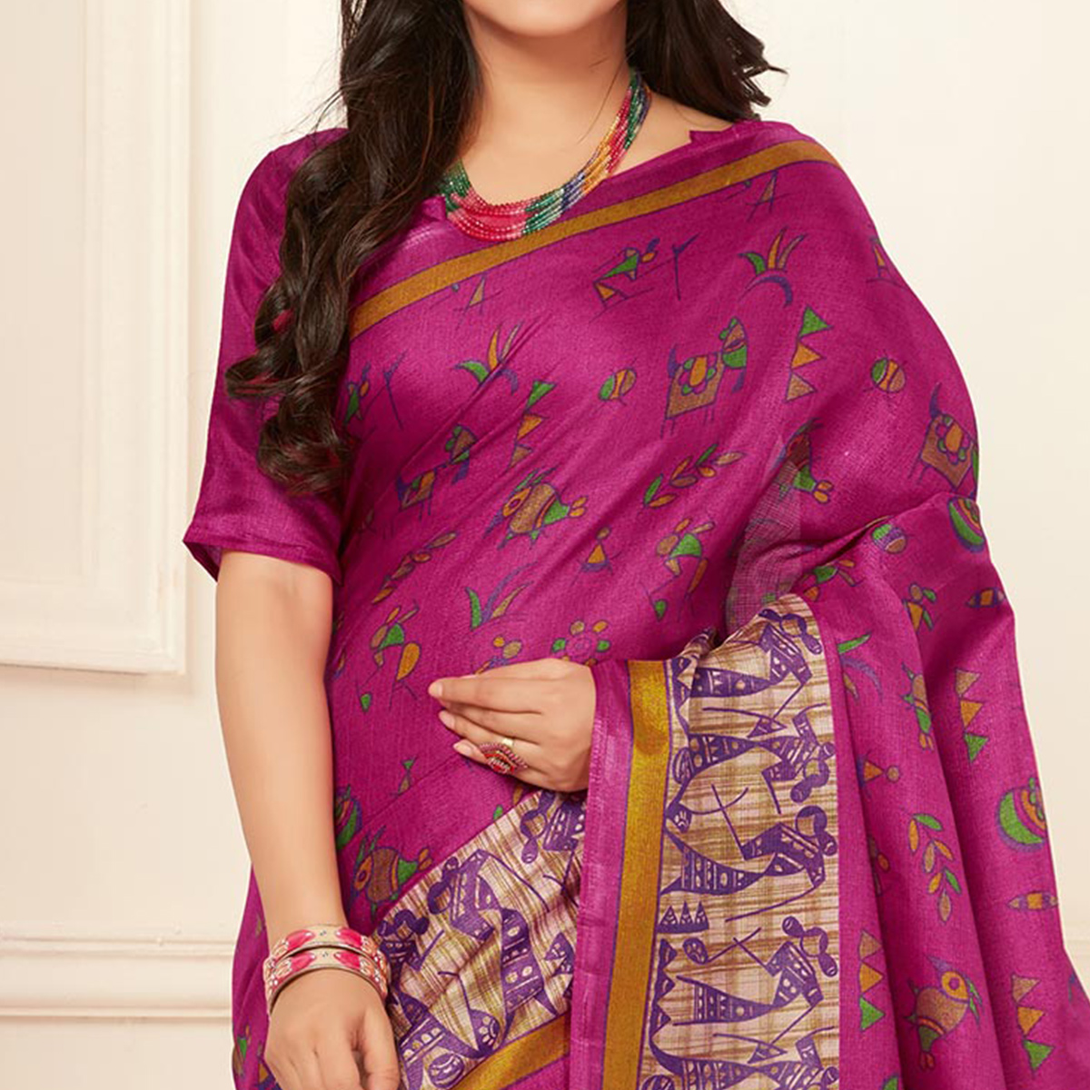 Beautiful Pink Warli Print Bhagalpuri Silk Saree