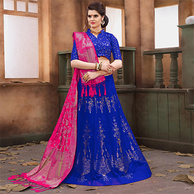 Deserving Royal Blue Colored Festive Wear Embroidered Banarasi Silk Lehenga Choli
