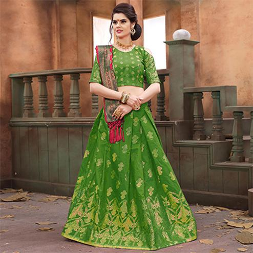 Capricious Green Colored Festive Wear Embroidered Banarasi Silk Lehenga Choli