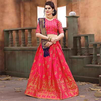Glorious Fuschia Pink Colored Festive Wear Embroidered Banarasi Silk Lehenga Choli