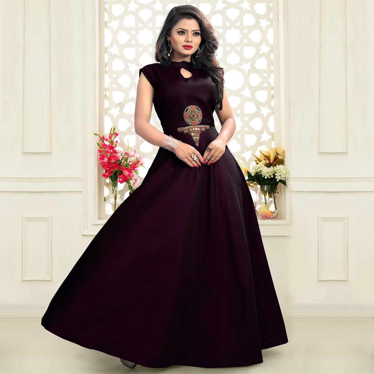 Stunning Wine Designer Embroidered Work Twill Tapeta Gown