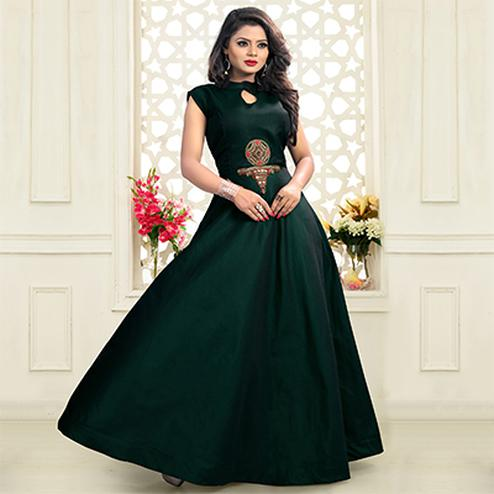 Dark Green Designer Embroidered Work Twill Tapeta Gown