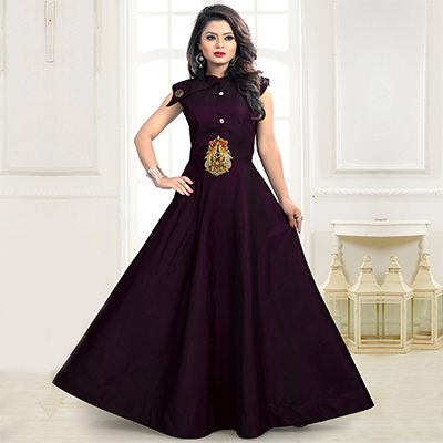 Wine Designer Embroidered Work Party Wear Twill Tapeta Gown