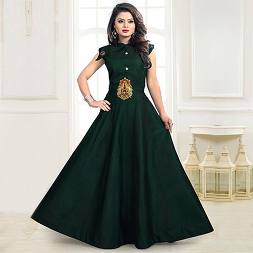 Dark Green Designer Embroidered Work Party Wear Twill Tapeta Gown