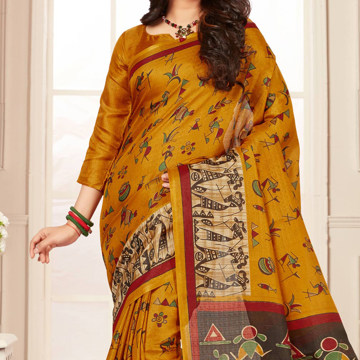 Beautiful Yellow Warli Print Bhagalpuri Silk Saree