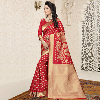 Traditional Red Colored Festive Wear Woven Banarasi Art Silk Saree