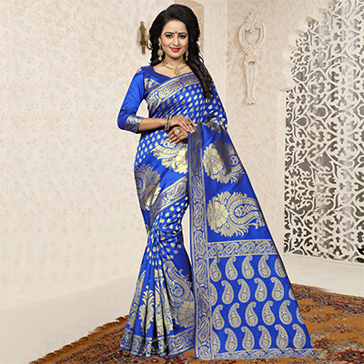 Glowing Blue Colored Festive Wear Woven Banarasi Art Silk Saree