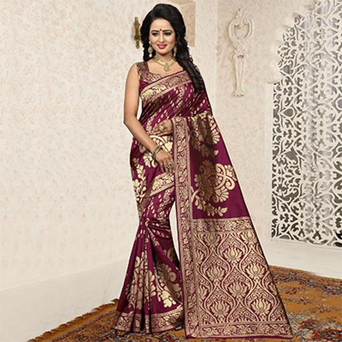 Majestic Wine Colored Festive Wear Woven Banarasi Art Silk Saree