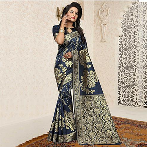 Desiring Teal Blue Colored Festive Wear Woven Banarasi Art Silk Saree