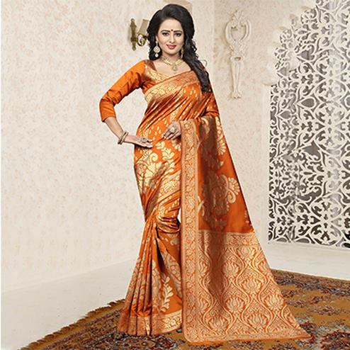 Gorgeous Orange Colored Festive Wear Woven Banarasi Art Silk Saree