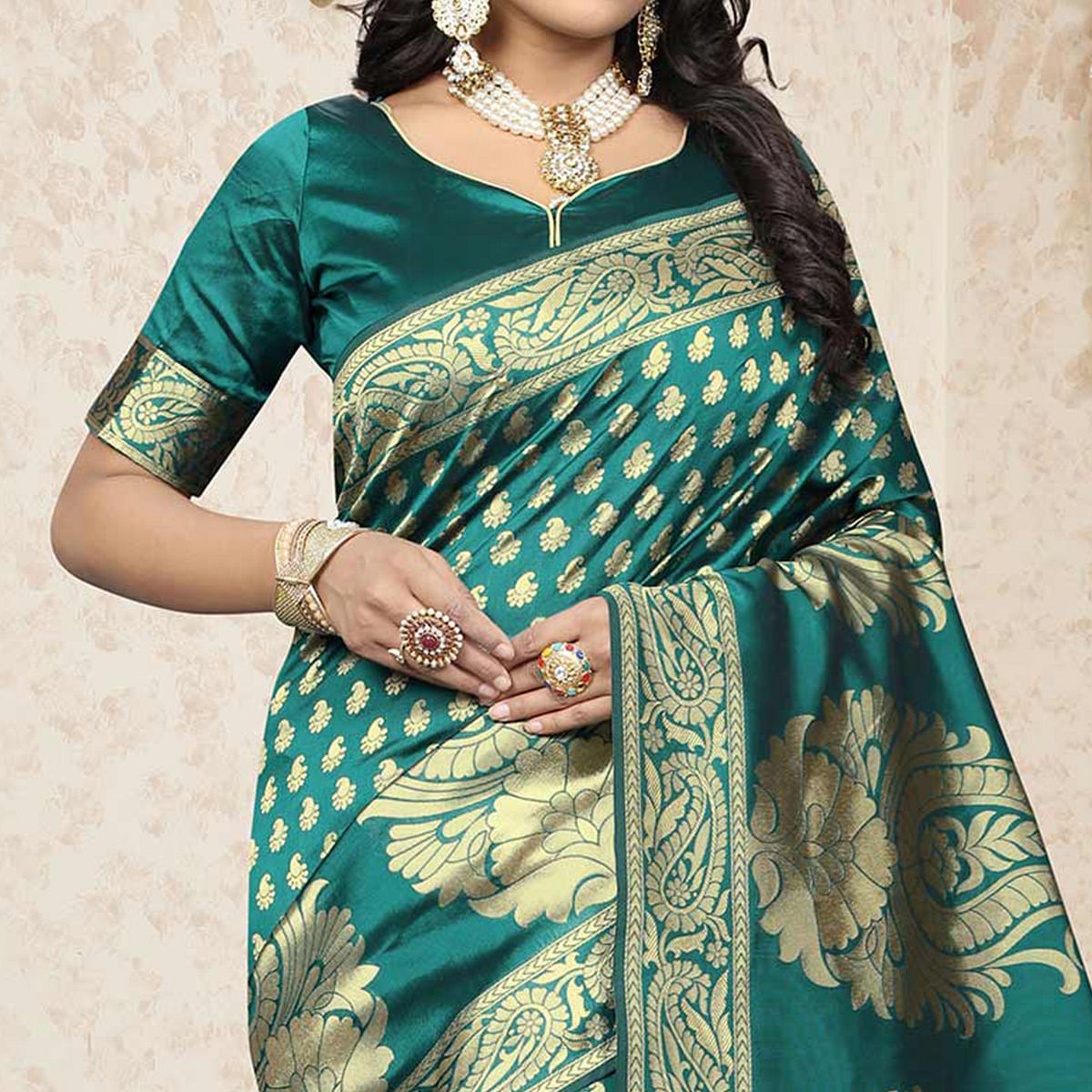 Beautiful Turquoise Green Colored Festive Wear Woven Banarasi Art Silk Saree