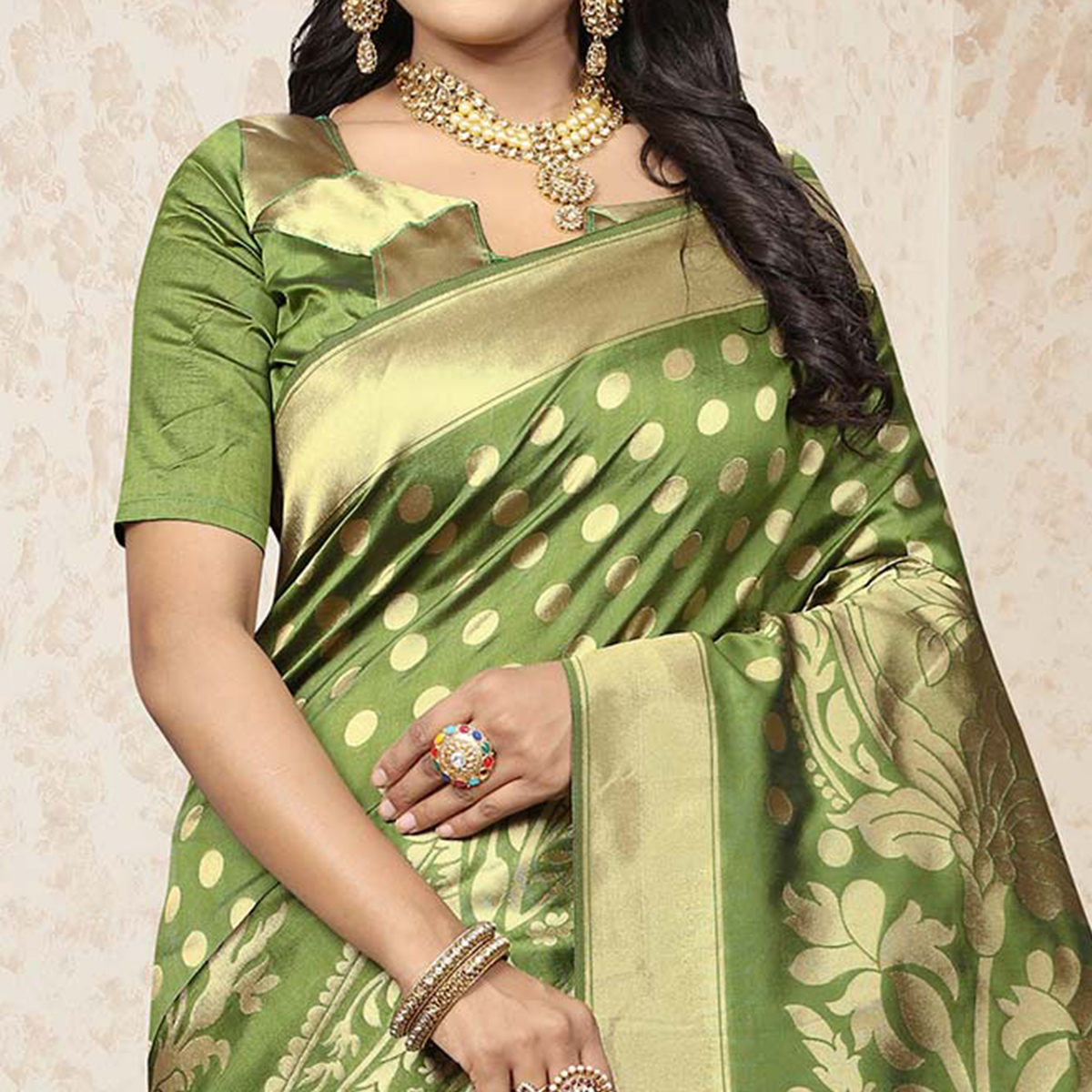 Groovy Green Colored Festive Wear Woven Banarasi Art Silk Saree