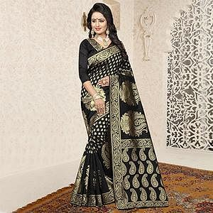 Blooming Black Colored Festive Wear Woven Banarasi Art Silk Saree