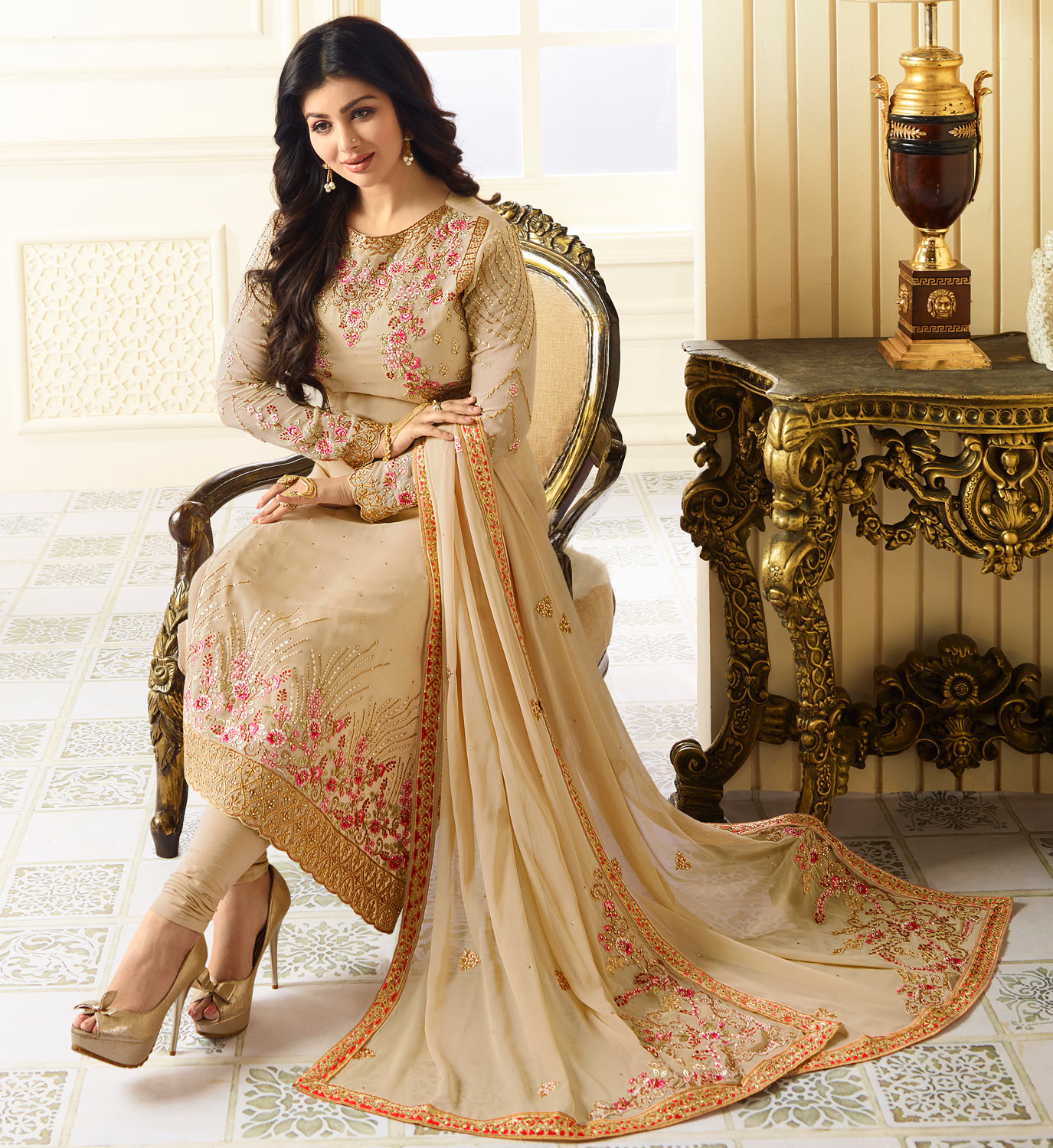Attractive Beige Colored Designer Heavy Embroidered Georgette Suit