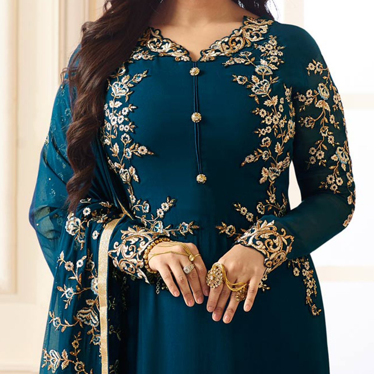 Sophisticated Stone Blue Colored Designer Heavy Embroidered Georgette Suit