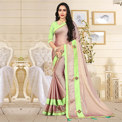 Elegant Dusty Pink Colored Casual Satin Silk Saree