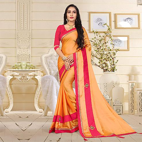 Glowing Orange Colored Casual Satin Silk Saree