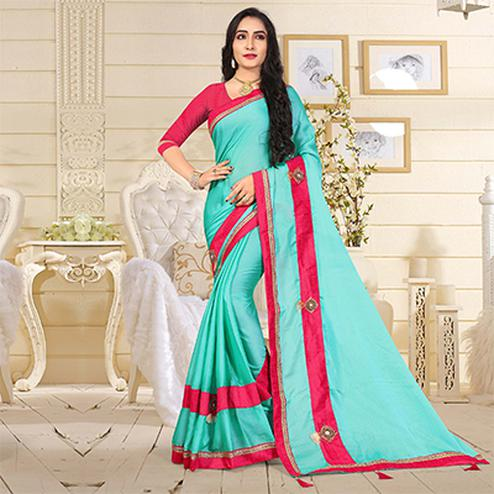 Attractive Aqua Blue Colored Casual Satin Silk Saree