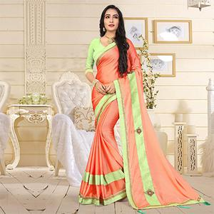 Pretty Orange Colored Casual Satin Silk Saree
