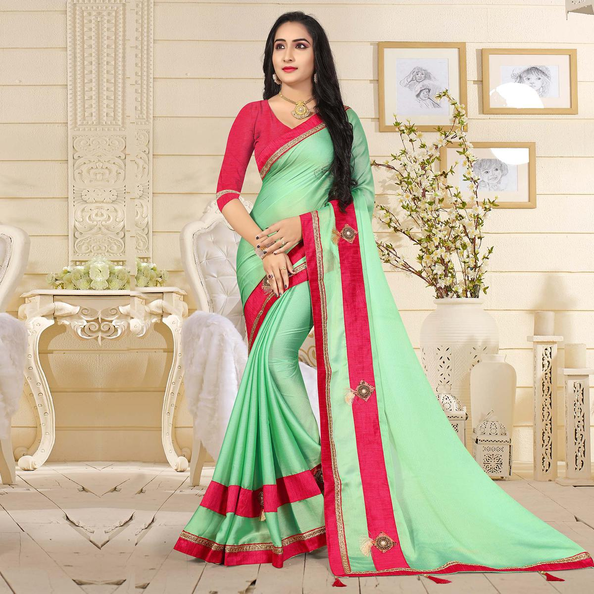 Opulent Pearl Green Colored Casual Satin Silk Saree