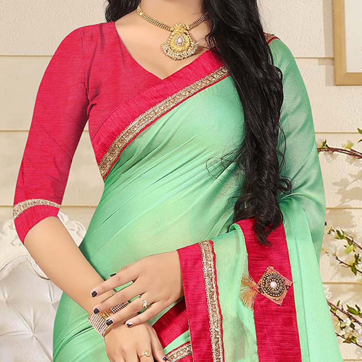 Opulent Pearl Green Colored Casual Silk Saree