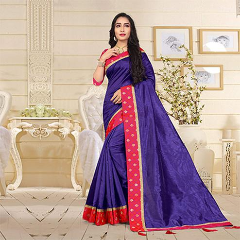 Perfect Purple Colored Casual Satin Silk Saree