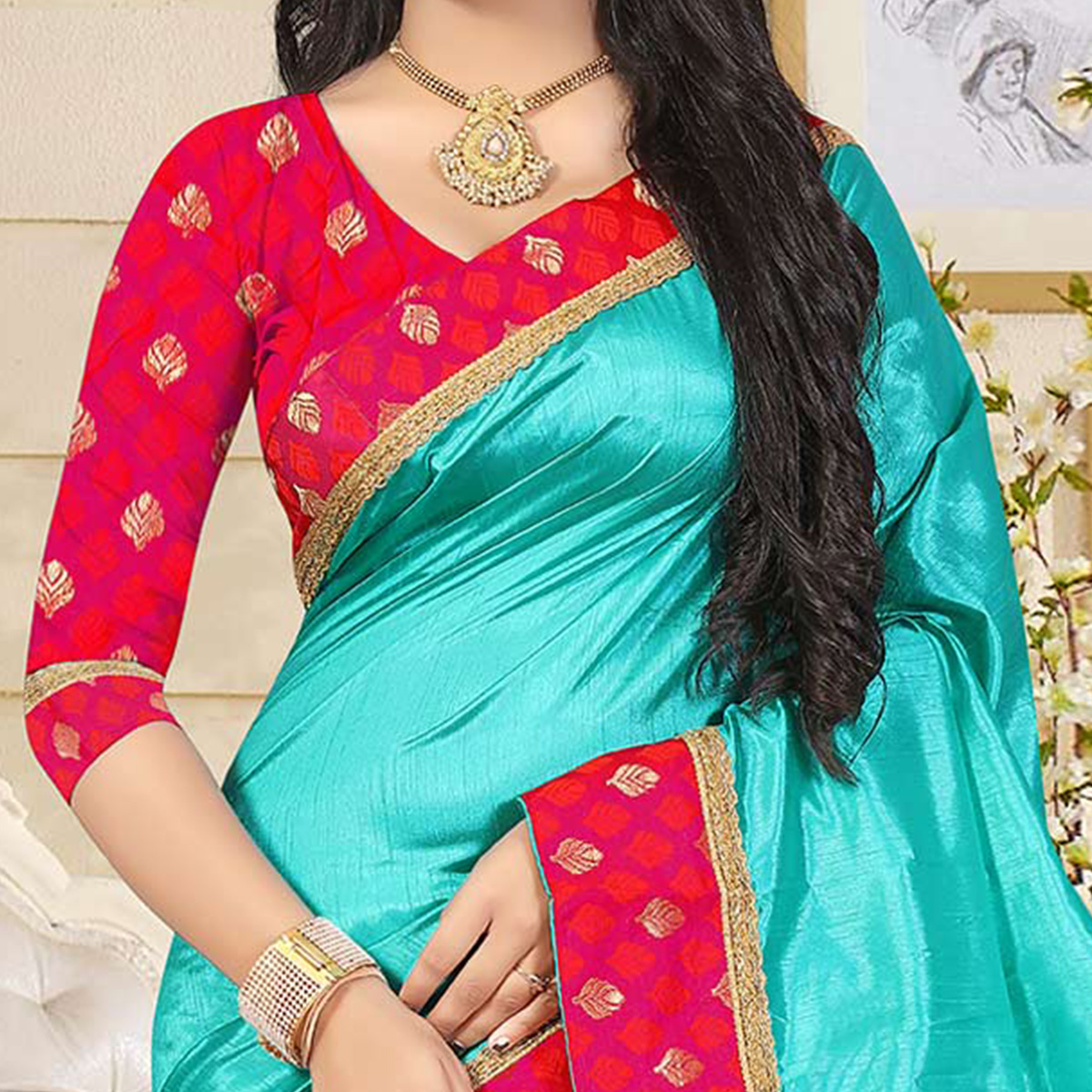 Eye-Catching Turquoise Blue Colored Casual Art Silk Saree