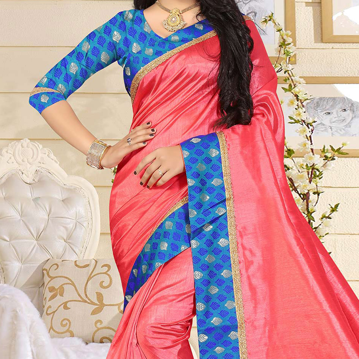 Refreshing Peach Colored Casual Art Silk Saree