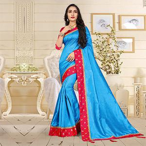 Gorgeous Blue Colored Casual Art Silk Saree
