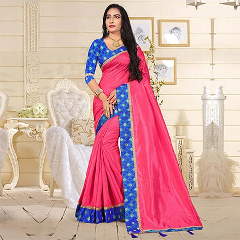 Majestic Pink Colored Casual Art Silk Saree