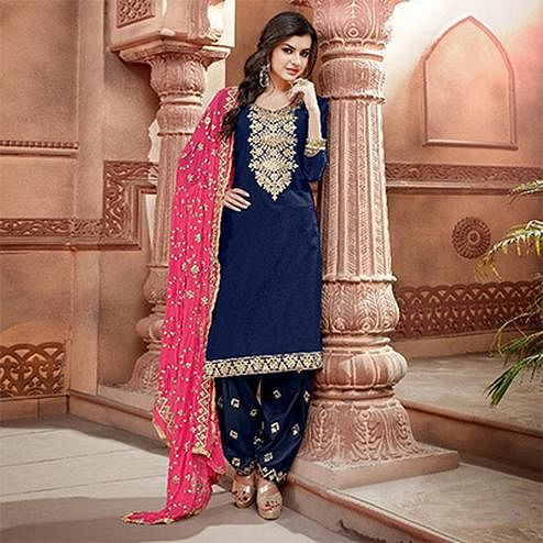 Mesmerising Navy Blue Colored Partywear Chanderi Silk Suit