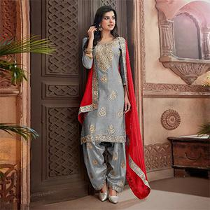 Trendy Gray Colored Partywear Chanderi Silk Suit