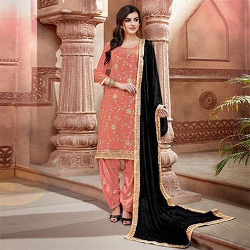 Desiring Peach Colored Partywear Chanderi Silk Suit