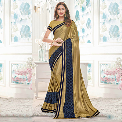 Gold-Blue Colored Designer Partywear Lycra Saree