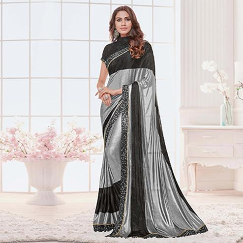 Silver-Black Colored Designer Partywear Lycra Saree