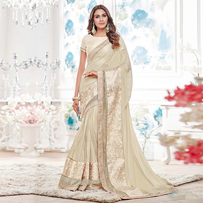 Off White Colored Designer Partywear Lycra Saree