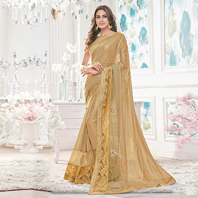 Gold Colored Designer Partywear Lycra Net Saree