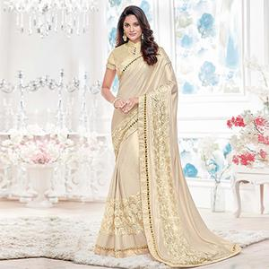 Cream Colored Designer Partywear Lycra Saree