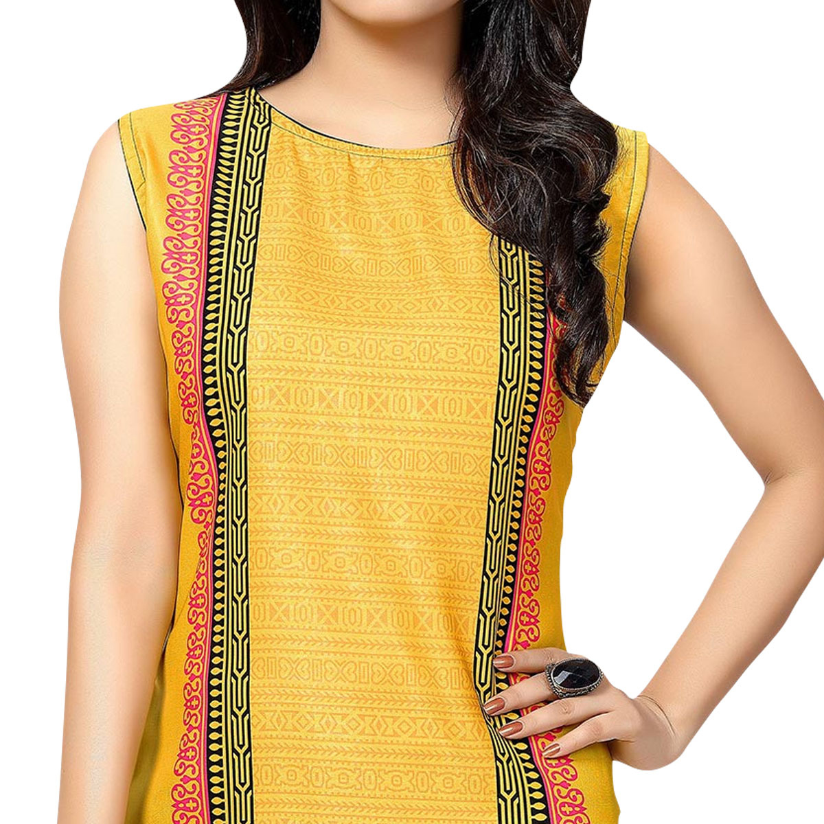 Yellow - Black Printed Stitched Kurti