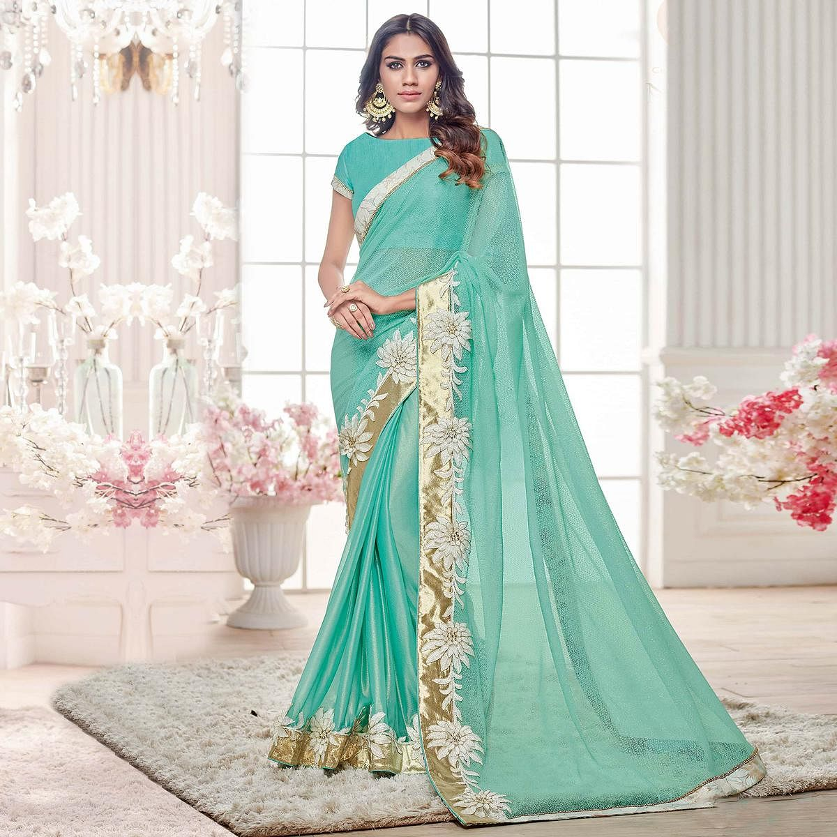 Aqua Blue Colored Designer Partywear Lycra Net Saree