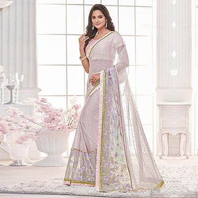 Lavender Colored Designer Partywear Lycra Net Saree